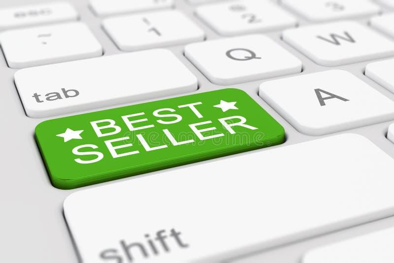 3d представляют клавиатуры с зеленой кнопкой самого лучшего продавца бесплатная иллюстрация