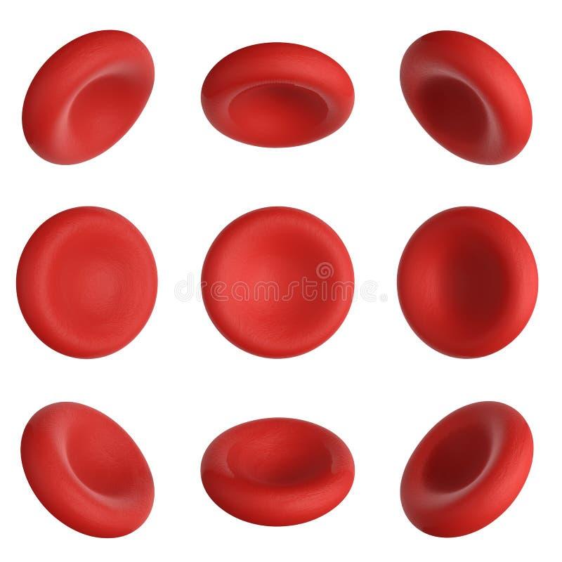 3d представляют клетки крови для того чтобы повернуть 9 градусов на белизне бесплатная иллюстрация