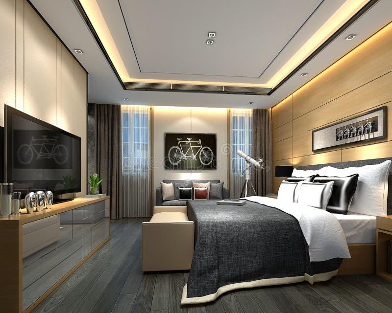 3d представляют комнаты роскошной гостиницы иллюстрация вектора
