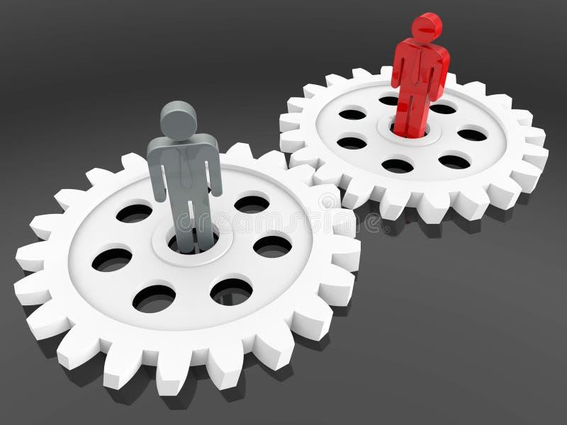 3D представляют - концепцию работы команды шестерни иллюстрация штока
