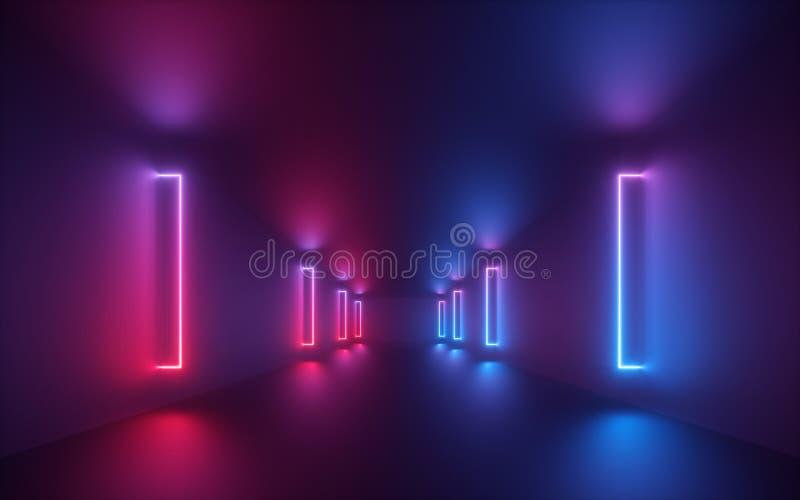3d представляют, красное голубое неоновое свето, загоренный коридор, тоннель, пустой космос, ультрафиолетовый свет, стиль 80's ре стоковая фотография