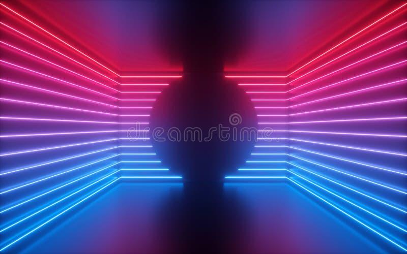 3d представляют, красные голубые неоновые линии, округлая форма внутри пустой комнаты, виртуального космоса, ультрафиолетового св стоковые изображения
