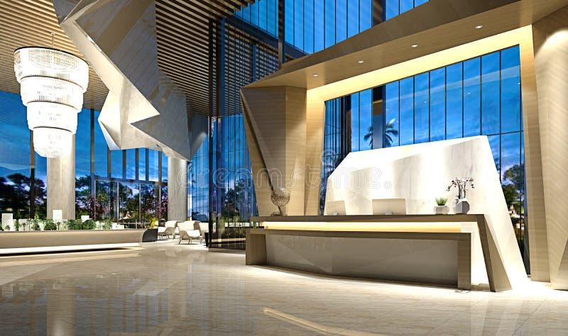 3d представляют лобби приема роскошной гостиницы иллюстрация вектора