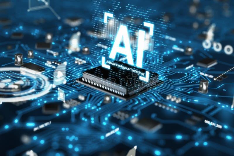 3D представляют набор микросхем блока центрального процессора C.P.U. технологии искусственного интеллекта AI на плате с печатным  стоковое изображение rf