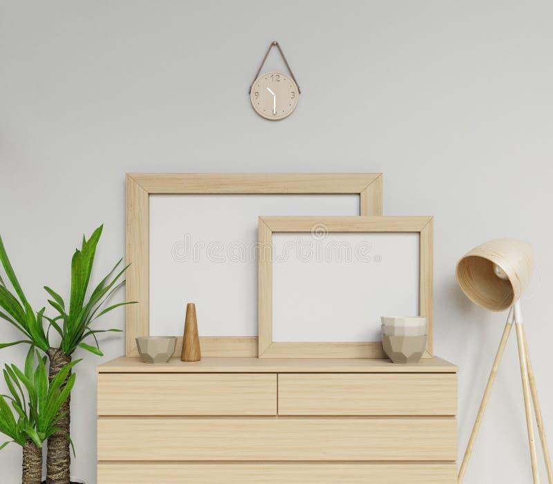 3d представляют насмешка плаката скандинавского размера a1 и a2 интерьера дома 2 пустая вверх с деревянной рамкой сидя горизонтал иллюстрация вектора