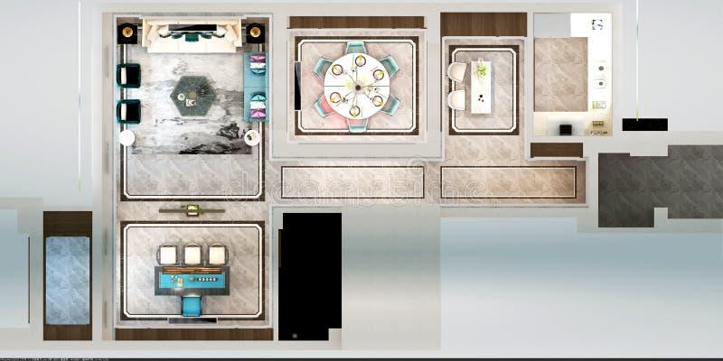 3d представляют плана дома бесплатная иллюстрация