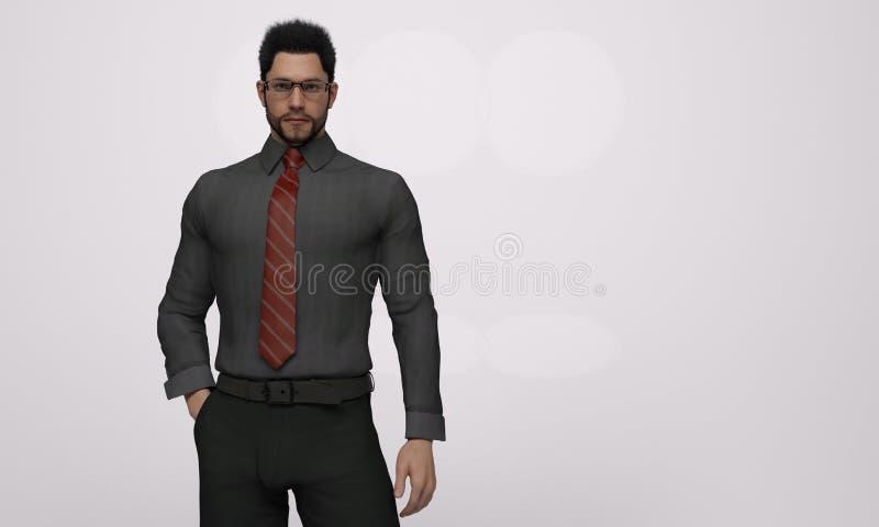 3D представляют: портрет стоящего представления человека в eyeglasses черной рубашки и красной связи нося иллюстрация вектора