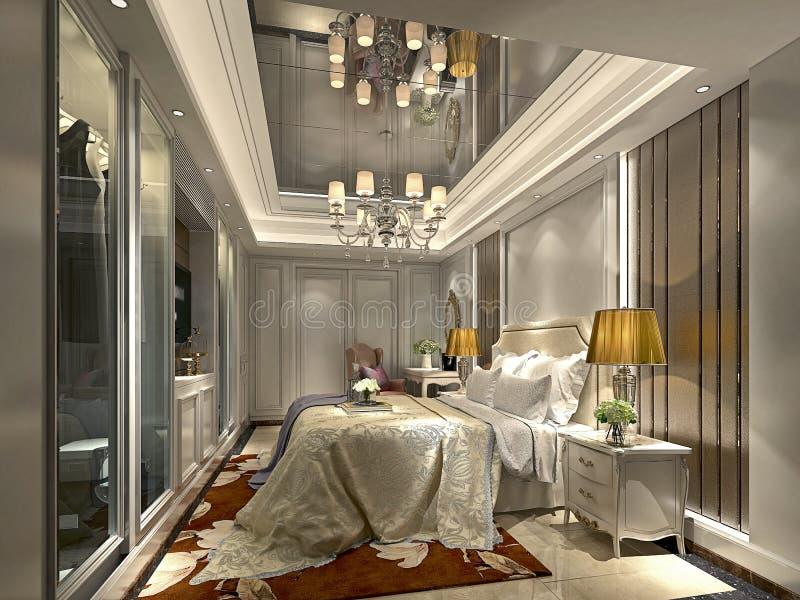 3d представляют роскошного постмодернистского гостиничного номера иллюстрация вектора