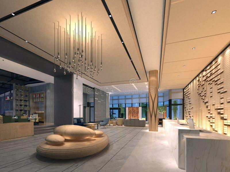 3d представляют современного интерьера здания бесплатная иллюстрация