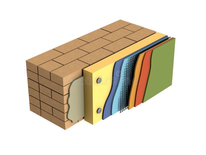 3d представляют состав стены схемы иллюстрация вектора