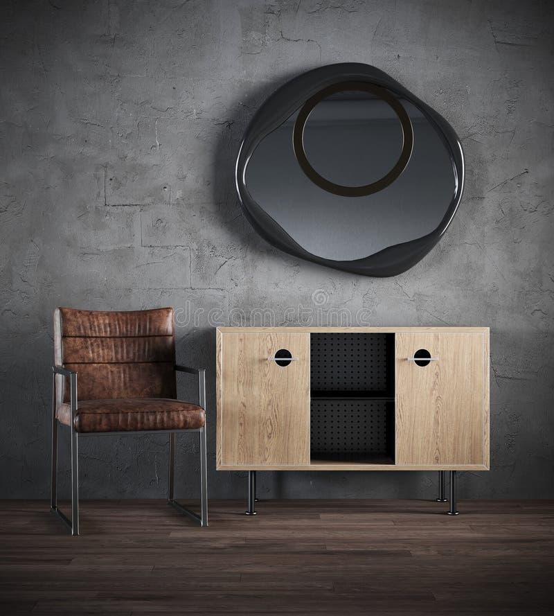 3d представляют темного интерьера с стулом, commode, зеркалом на фоне бетонной стены иллюстрация штока
