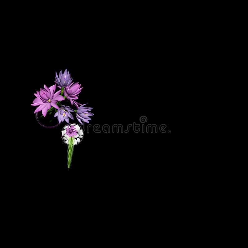 3d представляют цветков лотоса иллюстрация вектора