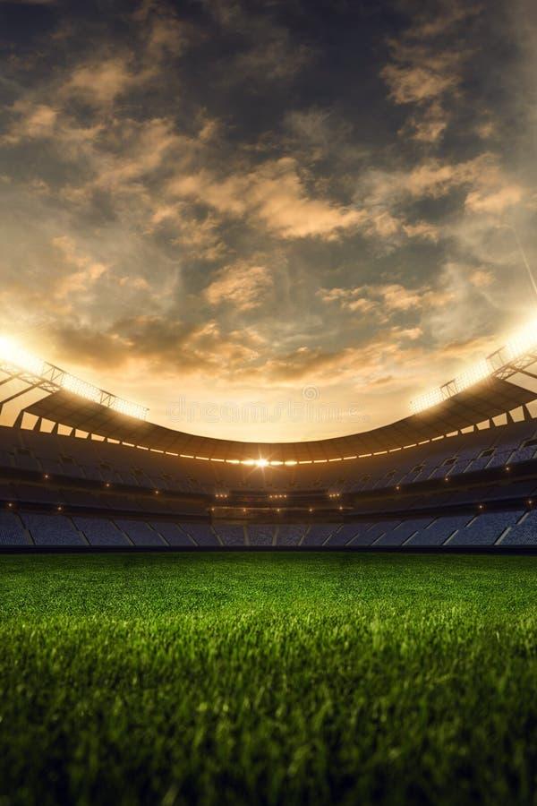 3d представляют emptry вечер стадиона стоковое изображение rf