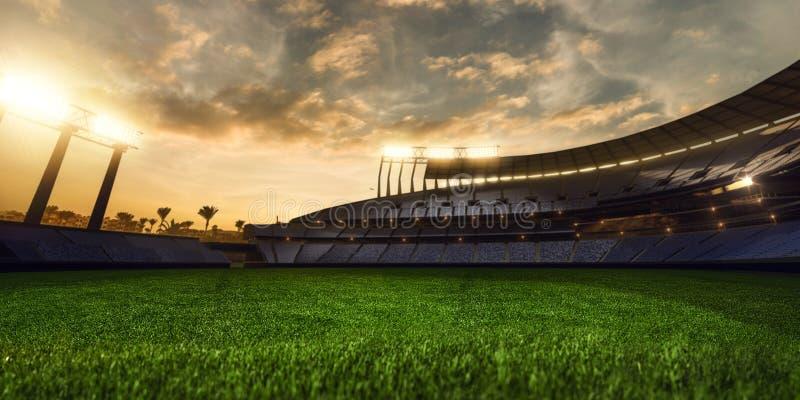 3d представляют emptry вечер стадиона стоковые изображения