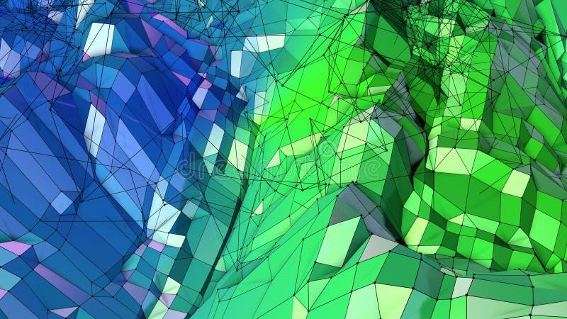 3d представляя абстрактную геометрическую предпосылку с современными цветами градиента в низком поли стиле поверхность 3d с зелен бесплатная иллюстрация
