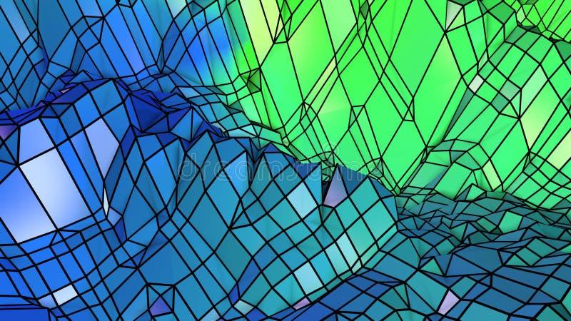 3d представляя абстрактную геометрическую предпосылку с современными цветами градиента в низком поли стиле поверхность 3d с зелен иллюстрация штока