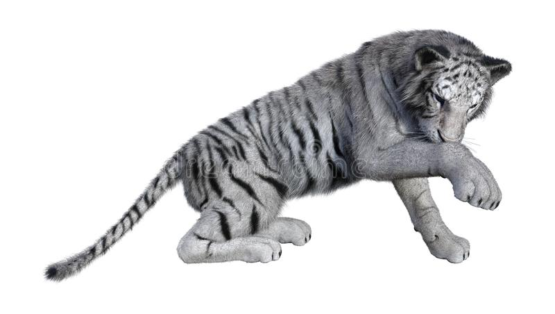 3D представляя белого тигра на белизне стоковое фото rf