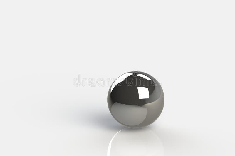 3D представляя предпосылку стального шарика белую белую, космос экземпляра иллюстрация вектора