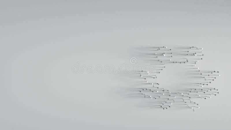 3D представляя различные ногти металла в форме чудовища спагетти летания иллюстрация вектора
