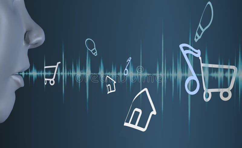 3d представляя систему распознавания головного голоса голубой земли стоковые изображения