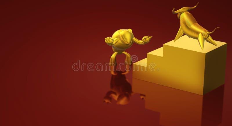 3d представляя содержание дела быка и медведя золота иллюстрация штока