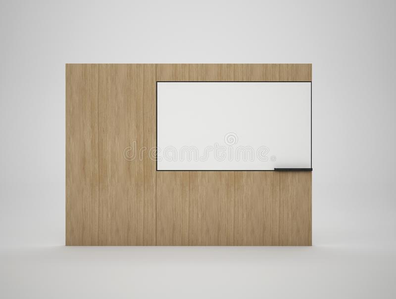3d представляя ТВ огораживают изолированный на белизне, насмешке вверх по иллюстрации иллюстрация штока