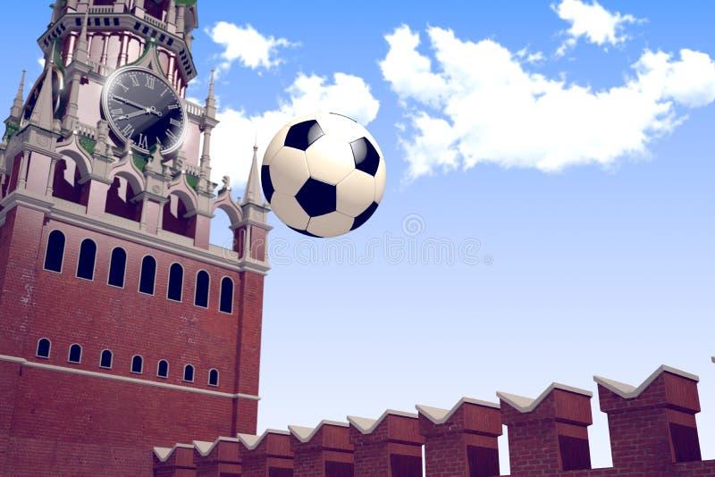 3d представляя футбольный мяч около Москвы Кремля стоковые фото