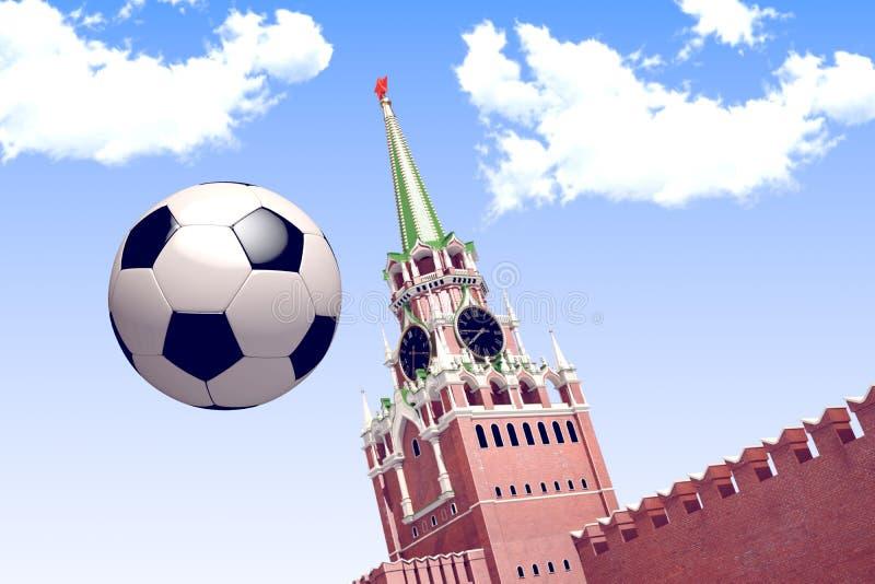 3d представляя футбольный мяч около Москвы Кремля стоковое фото rf