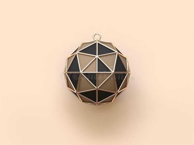 3d представляя черные коричневые торжество праздника шарика рождества золота/концепцию украшения иллюстрация штока
