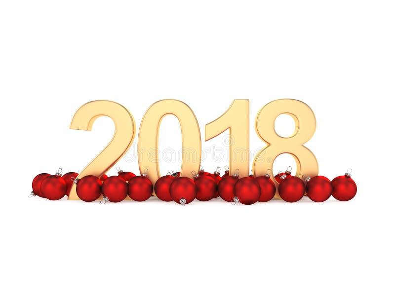 3D представляя числа золота 2018 Новых Годов иллюстрация штока