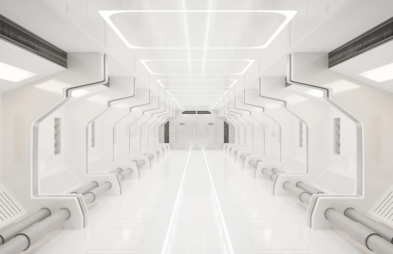 3D представляя элементы этого изображения поставленный, интерьер космического корабля белый, тоннель, коридор, прихожая бесплатная иллюстрация