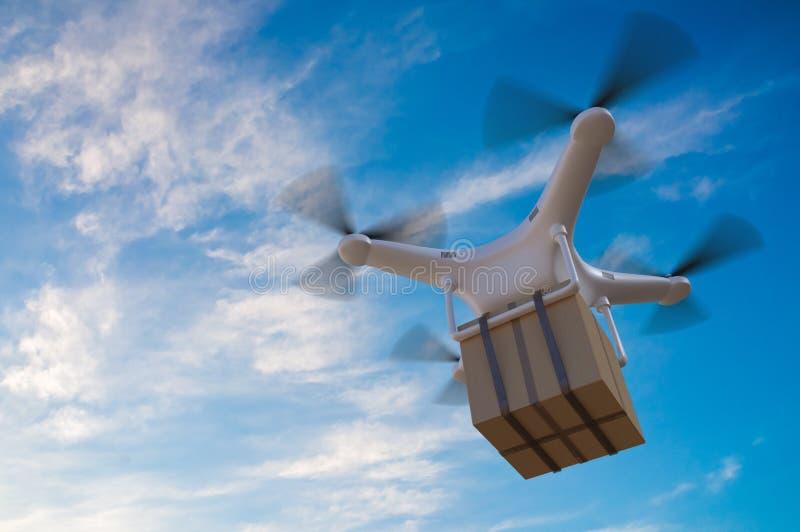 3D представило иллюстрацию летания трутня в небе и поставлять пакет иллюстрация вектора