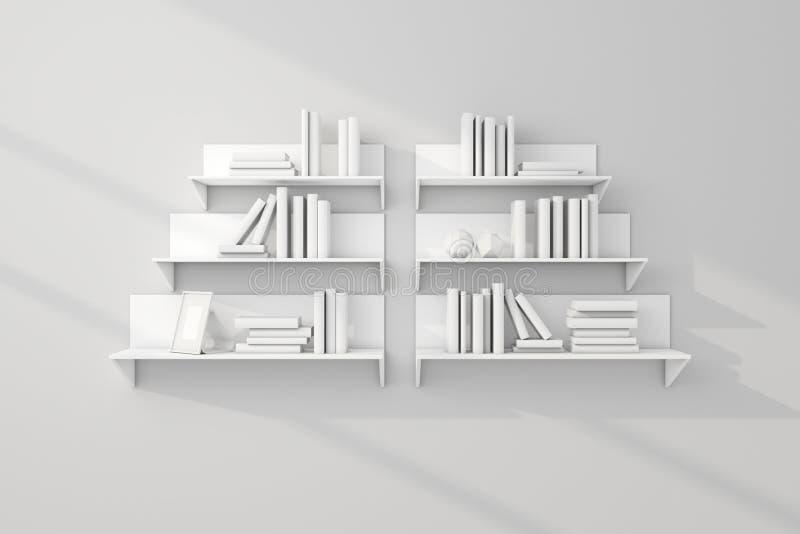 3d представило книжные полки стоковые изображения rf