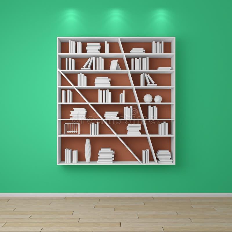 3d представило книжные полки стоковая фотография