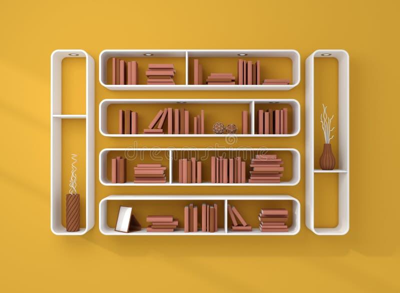 3d представило книжные полки стоковая фотография rf