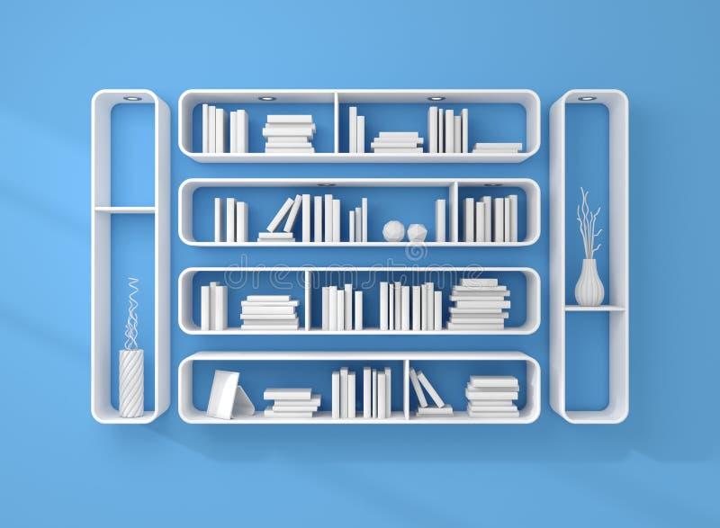 3d представило книжные полки стоковые изображения
