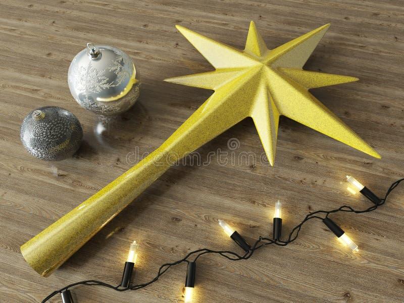 3d представляют безделушек звезды украшения золота и украшения рождества с черными светами на деревянной предпосылке бесплатная иллюстрация