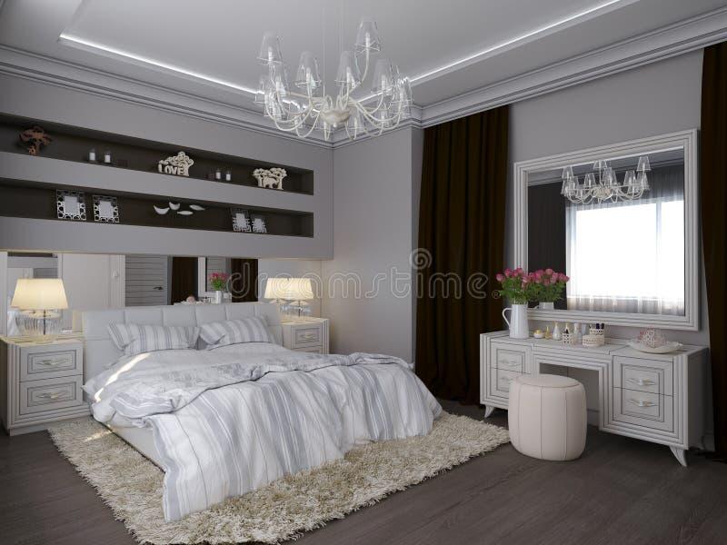 3D представляют белой спальни в классическом стиле бесплатная иллюстрация