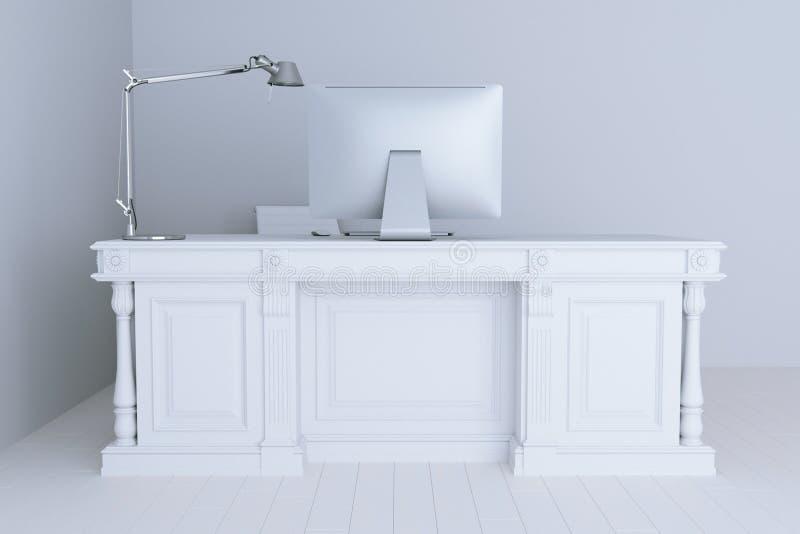 3d представляют белый офис внутренний с большими настольной лампой и компьютером иллюстрация штока