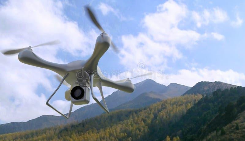 3d представляют горы quadrocopters на заднем плане Радио-contr бесплатная иллюстрация