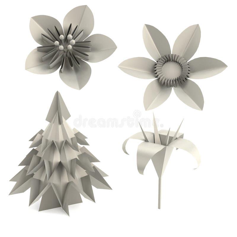 3d представляют заводов origami иллюстрация штока