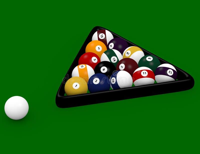 3d представляют игры бассейна 8 шариков иллюстрация вектора