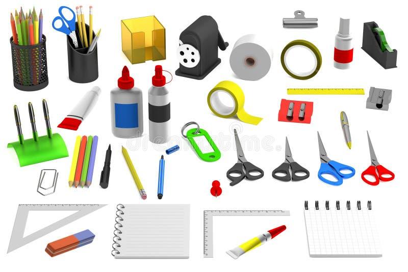 3d представляют инструментов канцелярских принадлежностей иллюстрация штока