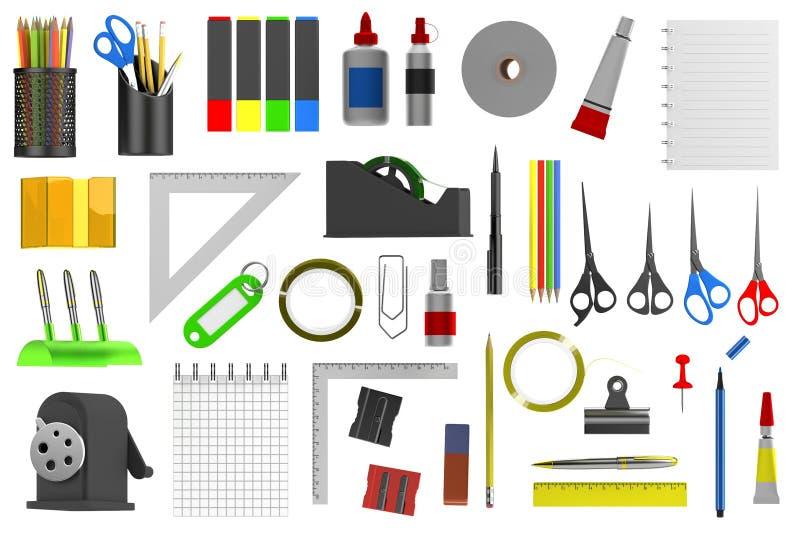 3d представляют инструментов канцелярских принадлежностей иллюстрация вектора
