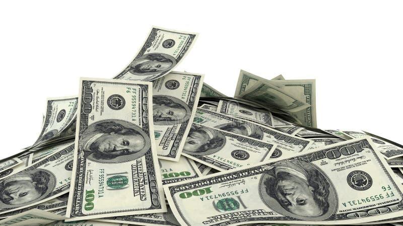 3D представляют, иллюстрация, куча долларовых банкнот иллюстрация вектора