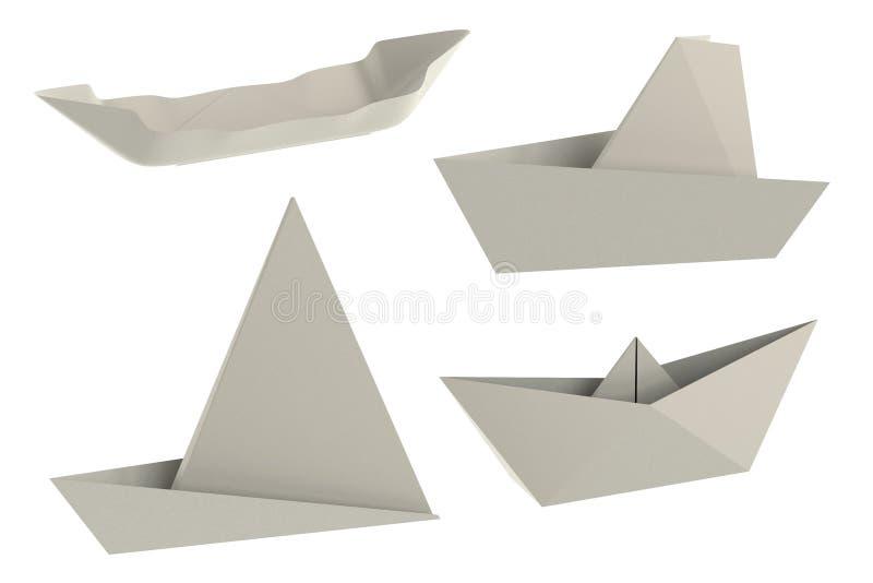 3d представляют кораблей origami иллюстрация вектора