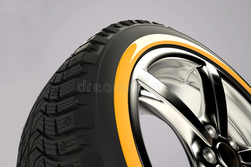 3d представляют колеса автомобиля стоковое изображение rf