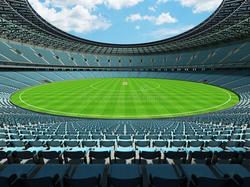 3D представляют круглого стадиона сверчка с небесно-голубыми местами и коробками VIP иллюстрация вектора