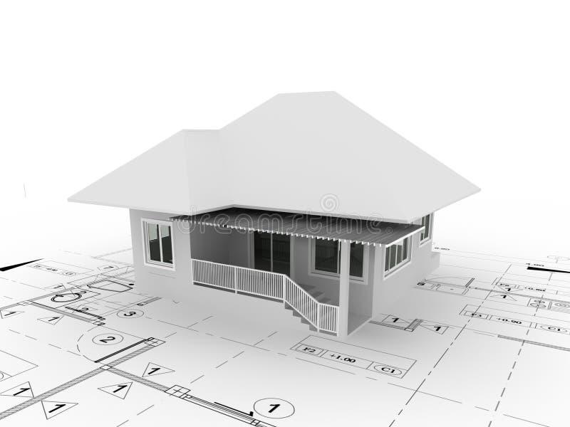 3d представляют дома на плане иллюстрация вектора