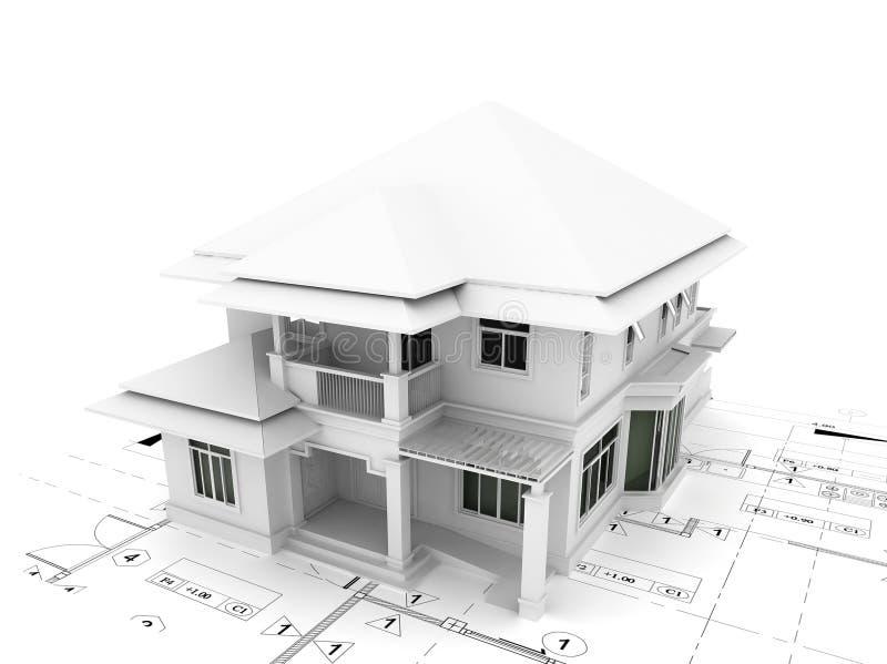 3d представляют дома на плане иллюстрация штока